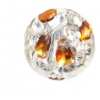 Glass Lamp Bead 12mm Coins Crystal/Silver/Topaz